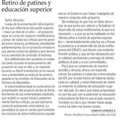 Rector Ignacio Sanchéz_ El Mercurio 1.7.2017