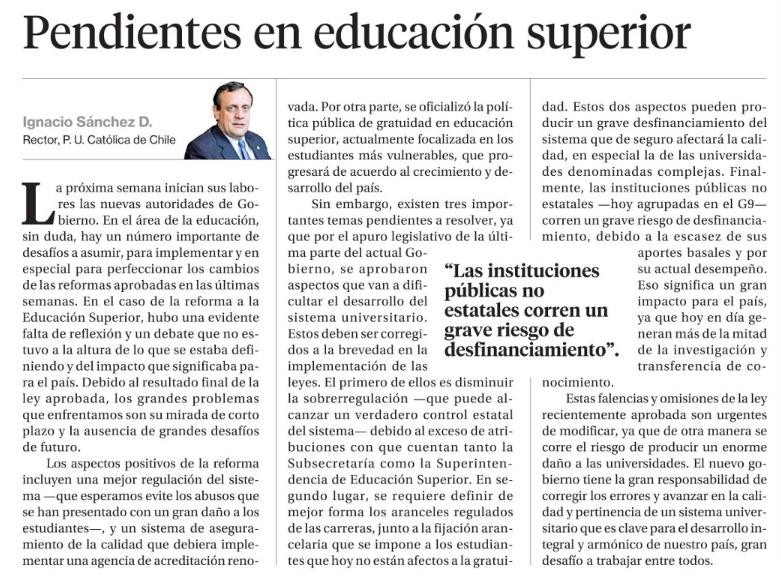Carta Rector Sánchez_La Segunda 6.3.2018